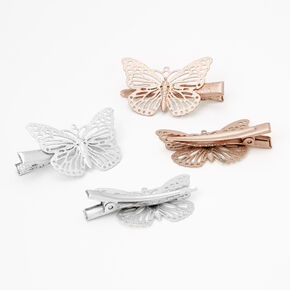 Claire's Club Mixed Metal Filigree Butterfly Hair Clips - 4 Pack,