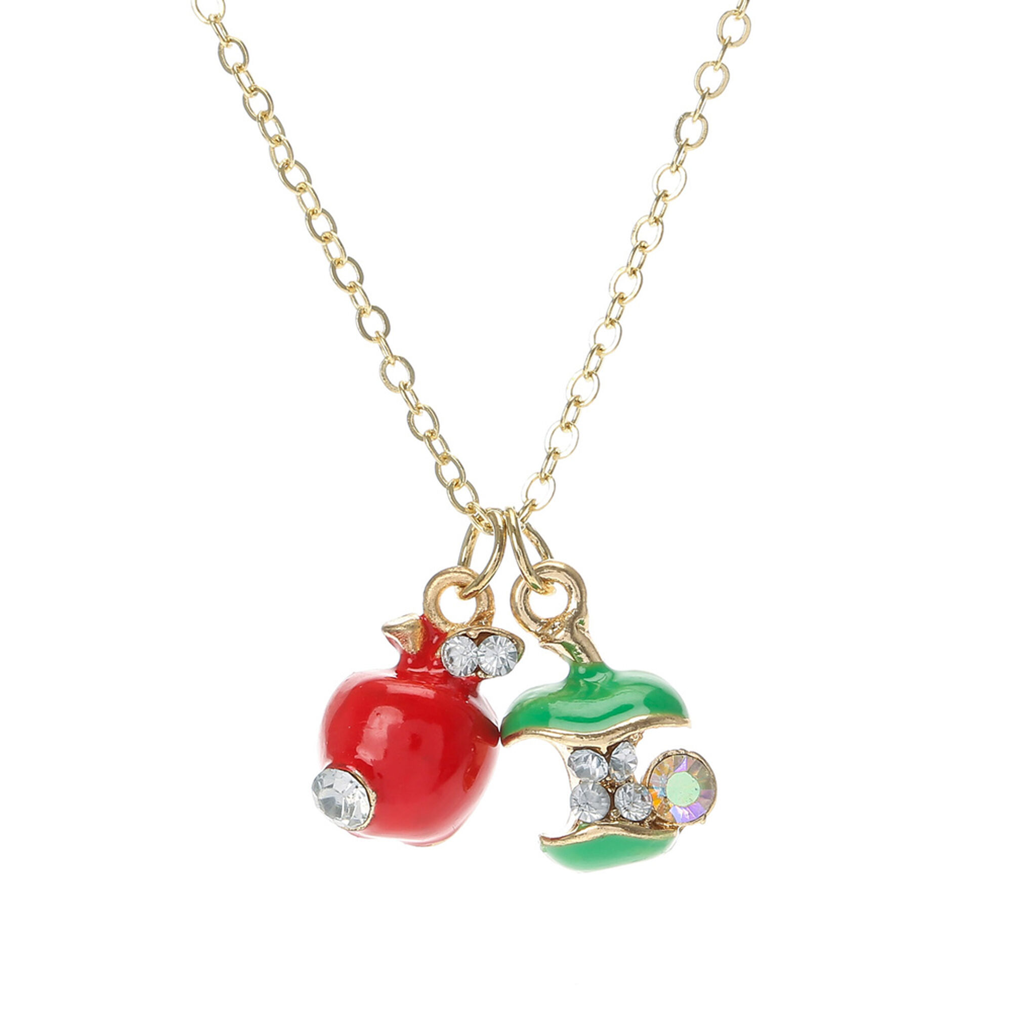 Crystal apple pendant necklace claires crystal apple pendant necklace mozeypictures Image collections