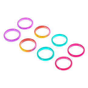 8 Pack Multi-Coloured Anodized Rings,