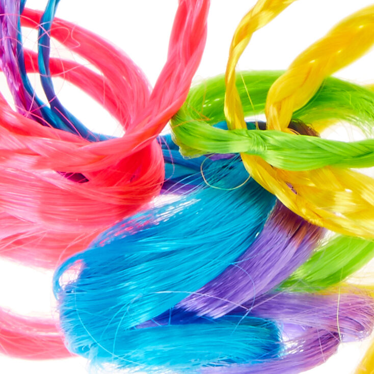Claire's Club Rainbow Faux Curly Braids Hair Tie,