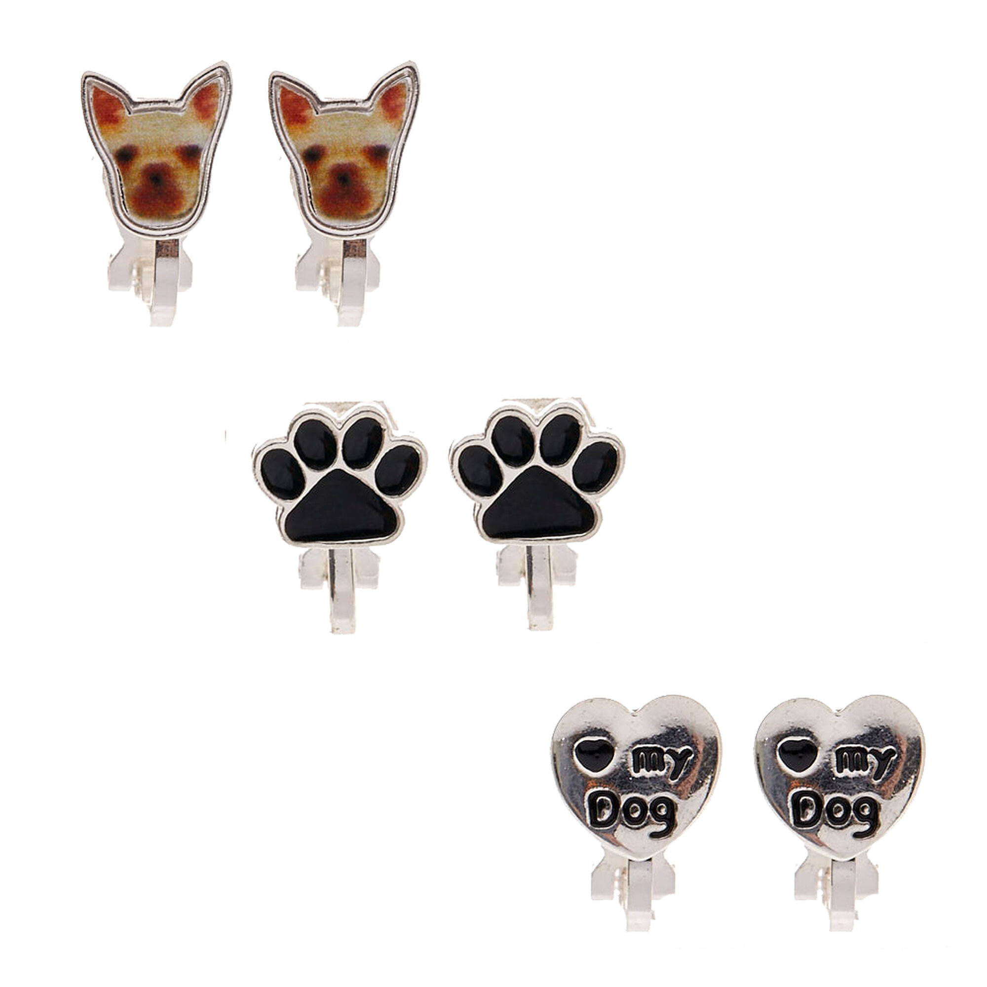 jewelry silver paw tiny round earrings earring cute item stud color print cat mark dog gold