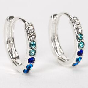 Boucles d'oreilles huggies ornementées 10mm couleur argentée - Bleu,
