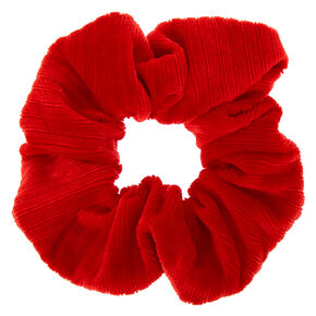 Medium Ribbed Velvet Hair Scrunchie - Red,
