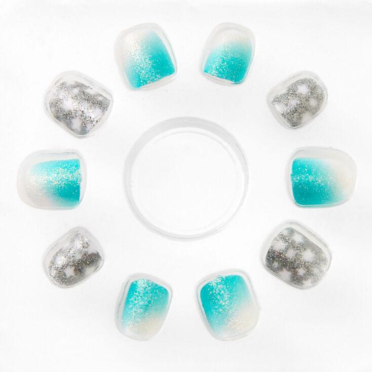 Faux ongles autocollants carrés avec dégradé bleu pastel - Lot de 24,