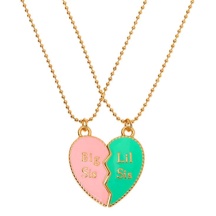 Big & Lil Sis Pastel Heart Pendant Necklaces - 2 Pack,