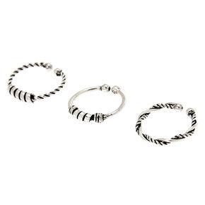 Faux anneaux de nez perlés Bali couleur argenté - Lot de 3,