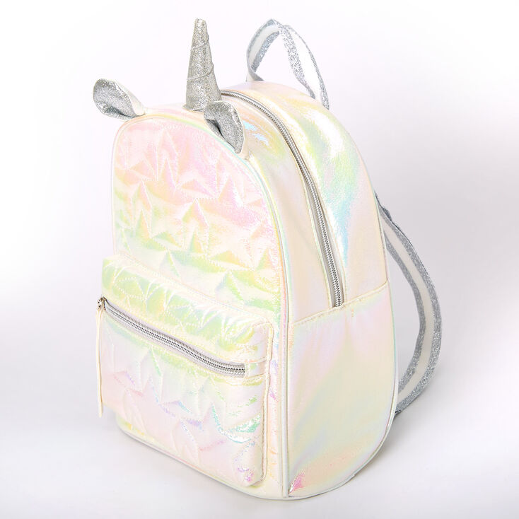 Iridescent Quilted Unicorn Small Backpack - White,