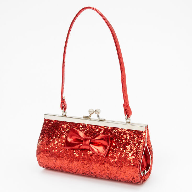 Claire's Club Satin Bow Clutch Bag - Red,