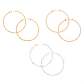 Mixed Metal 10MM Textured Clip On Hoop Earrings - 3 Pack,