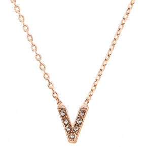 Rose Gold Embellished Initial Pendant Necklace - V,