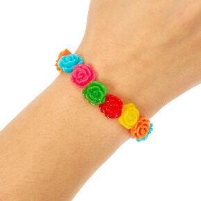 Neon Roses Stretch Bracelet,