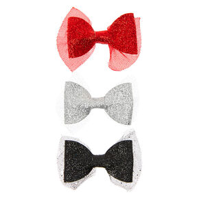 Claire's Club Glitter Hair Bow Clips - 3 Pack,