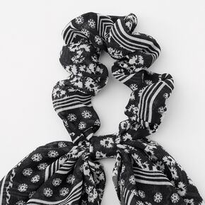 Chouchou foulard bandana motif cachemire - Bleu marine,