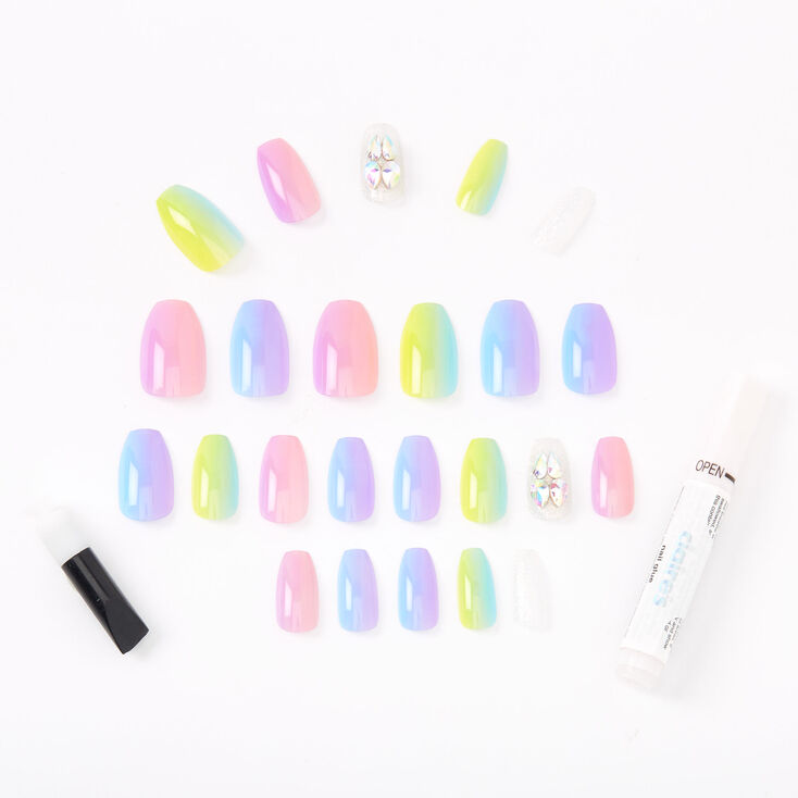 Rainbow Ombre Pastel Bling Coffin Faux Nail Set - 24 Pack,