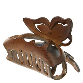 Faux Wood Butterfly Hair Claw - Brown,