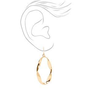 "Gold 3"" Twisted Oval Drop Earrings,"