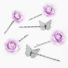 Silver Butterfly Flower Hair Pins - Lilac, 6 Pack,