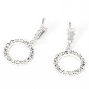 "Silver 0.5"" Rhinestone Circle Drop Earrings,"