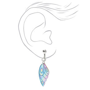 "Silver 1"" Pastel Holographic Butterfly Wing Clip On Drop Earrings,"