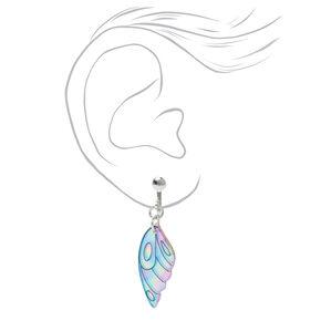 Pendantes à clip ailes de papillon holographiques pastel 2,5cm couleur argentée,