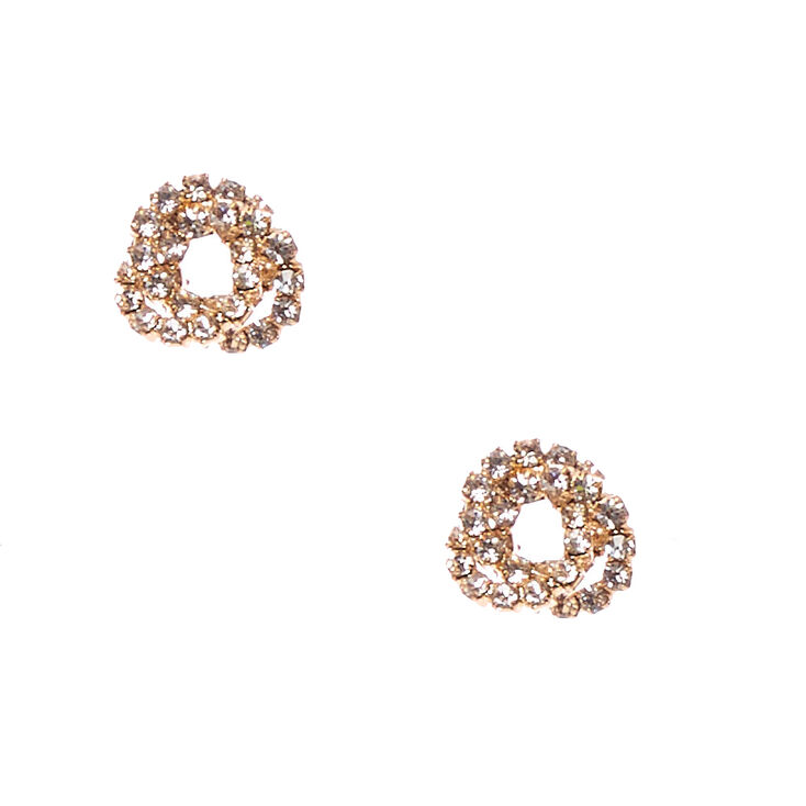 Gold Faux Crystal Knotted Stud Earrings,