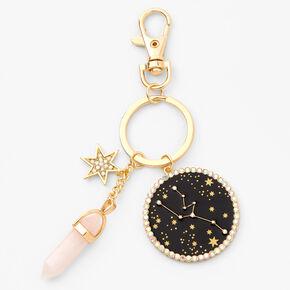 Gold Healing Crystal Zodiac Keyring - Taurus,