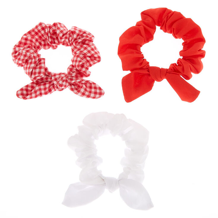 Claire's Club Small Gingham Bow Hair Scrunchies - Red, 3 Pack,