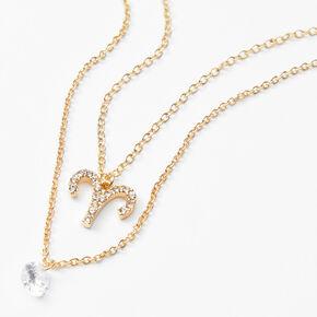 Gold Cubic Zirconia Zodiac Multi Strand Necklace - Aries,