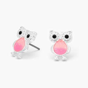 Glow In the Dark Owl Stud Earrings - Pink,