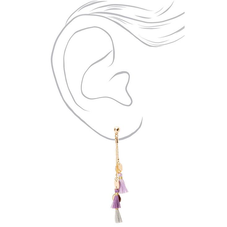 """Gold 2.5"""" Disc Tassel Drop Earrings - Lilac,"""