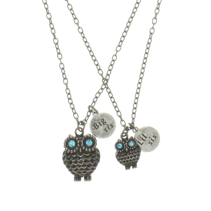 Big sister little sister owl pendant necklace claires us big sister little sister owl pendant necklace aloadofball Image collections