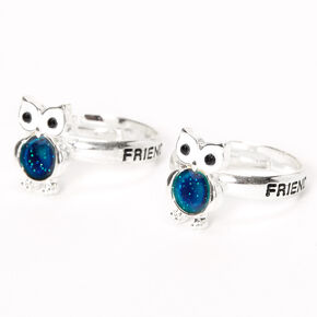 Silver Best Friends Owl Mood Rings - 2 Pack,