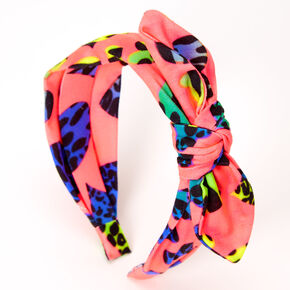 Neon Leopard Heart Knotted Bow Headband,