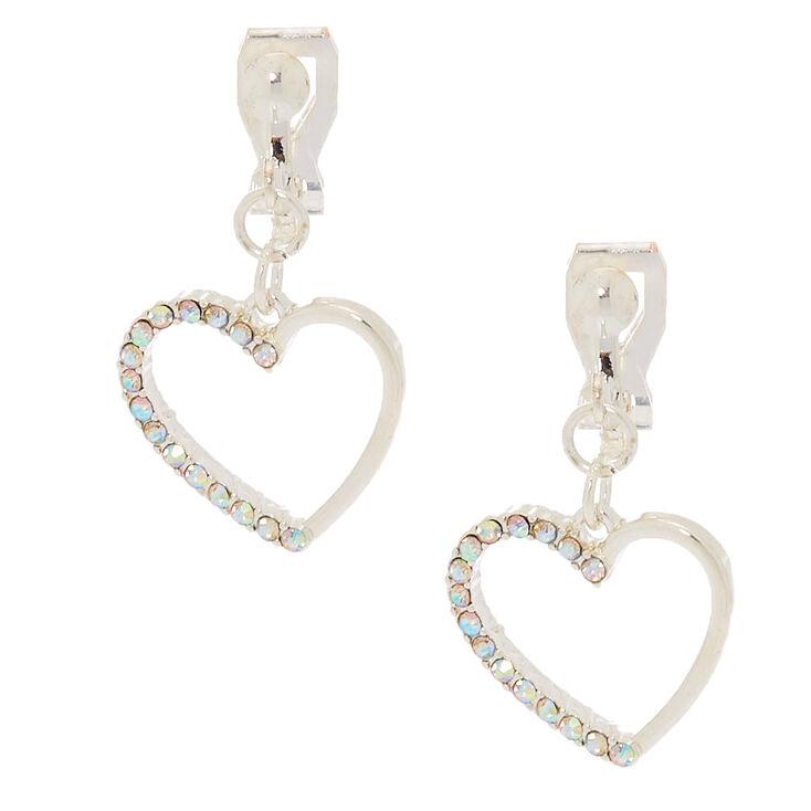 """Silver 1"""" Heart Clip On Drop Earrings,"""