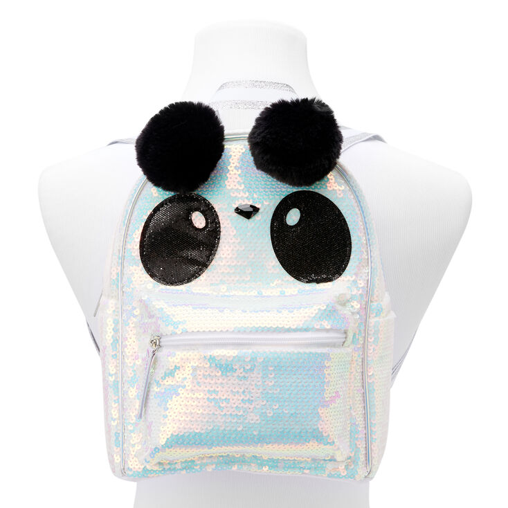 Sequin Panda Small Backpack - White,