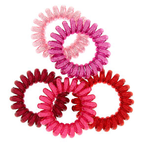 Mini Glitter Spiral Hair Bobbles - Pink,