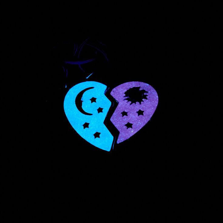Best Friends Celestial Heart Glow In The Dark Tattoo Choker Necklaces - 2 Pack,
