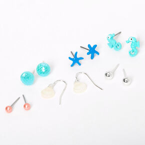 Silver Sea Creatures Mixed Earrings - Turquoise, 6 Pack,