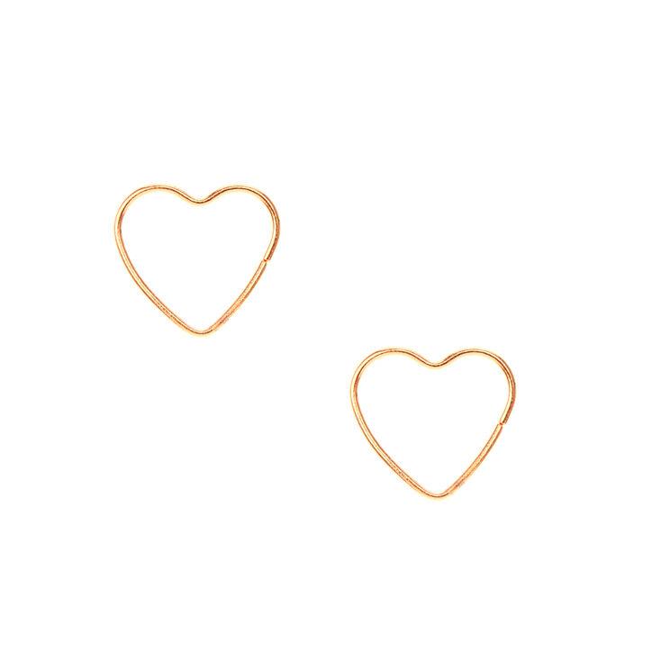18kt Rose Gold Plated Mini Heart Hoop Earrings