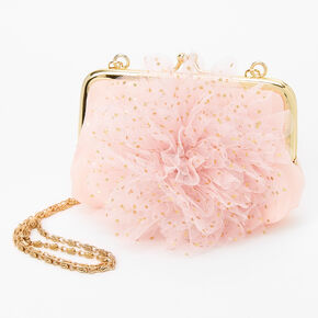 Claire's Club Chiffon Rose Small Crossbody Bag - Pink,