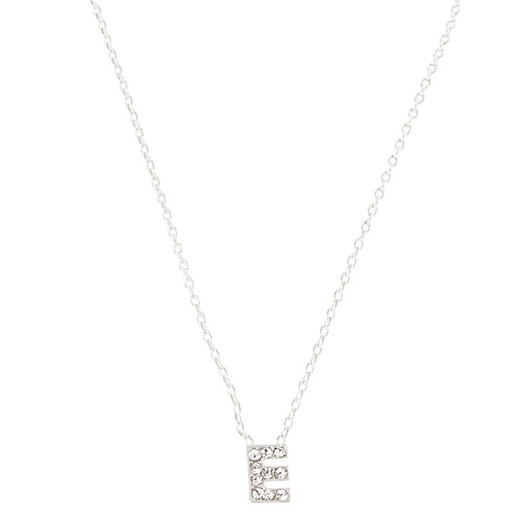 Silver Embellished Initial Pendant Necklace - E,
