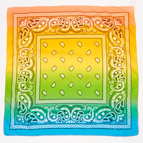 Ombre Rainbow Paisley Bandana Headwrap,