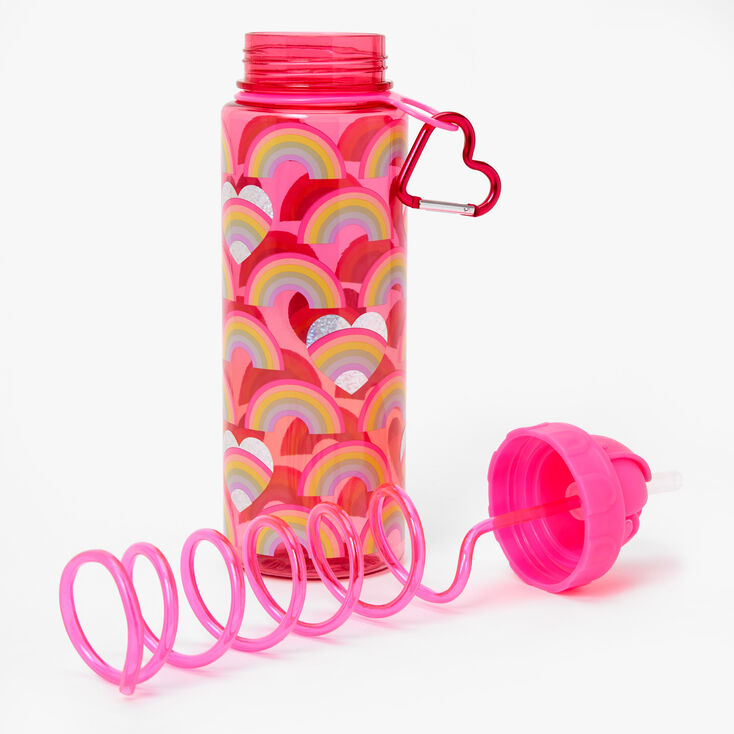Rainbow Heart Water Bottle - Pink,
