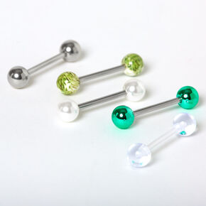 Silver Palm Leaf Barbell Tongue Rings - 5 Pack,
