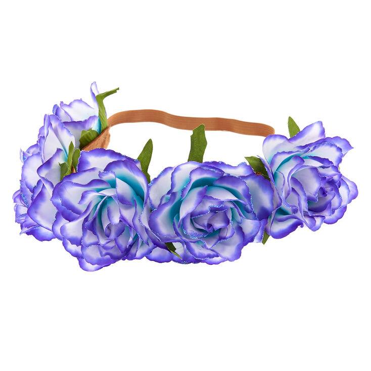 Ombre Flower Crown Headwrap - Purple To Mint,