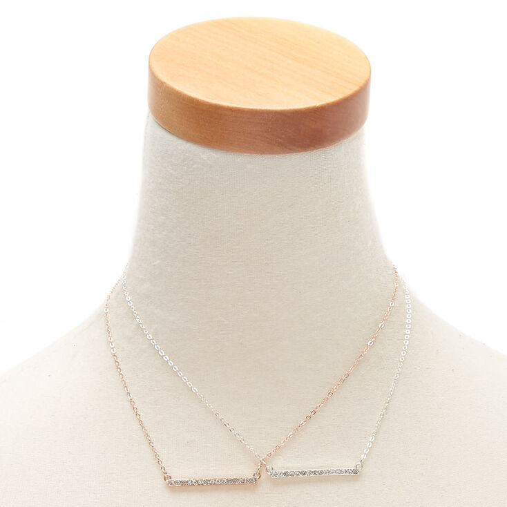 Mixed Metal Embellished Bar Pendant Necklaces - 2 Pack,