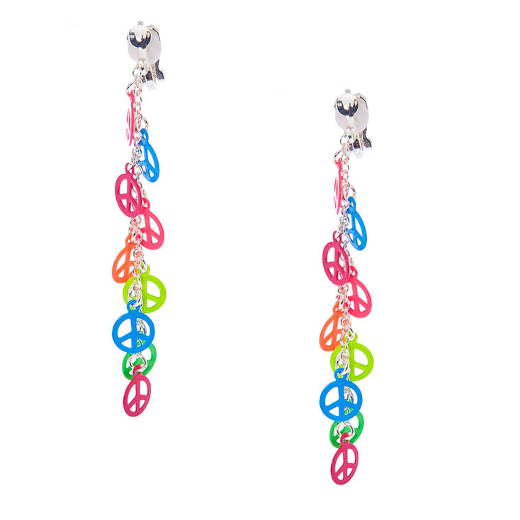 Neon Peace Sign Clip On Drop Earrings,
