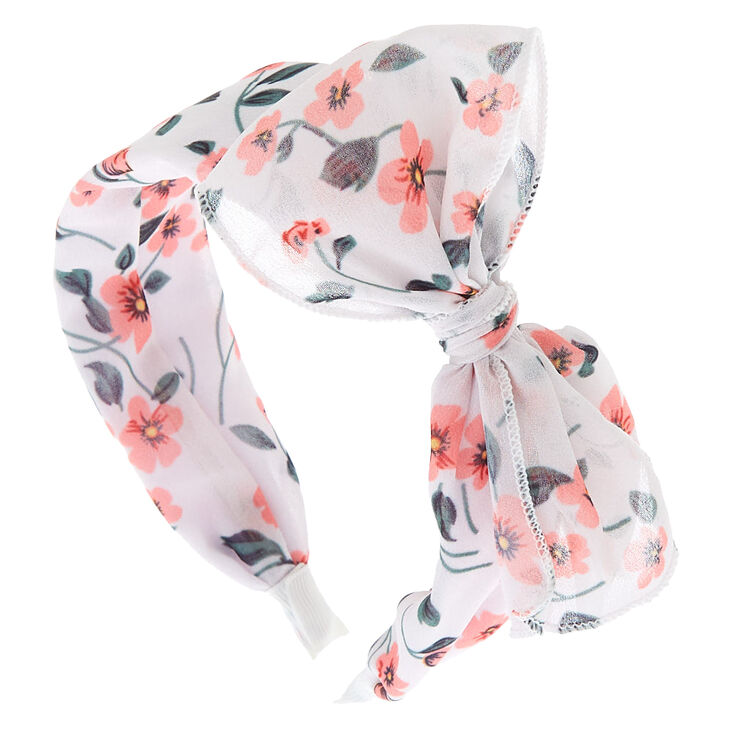 Floral Floppy Bow Headband - White,