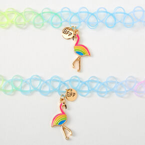 Best Friends Rainbow Flamingo Tattoo Choker Necklaces - 2 Pack,