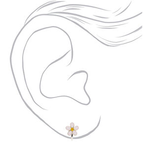 Silver Daisy Clip On Earrings - White,